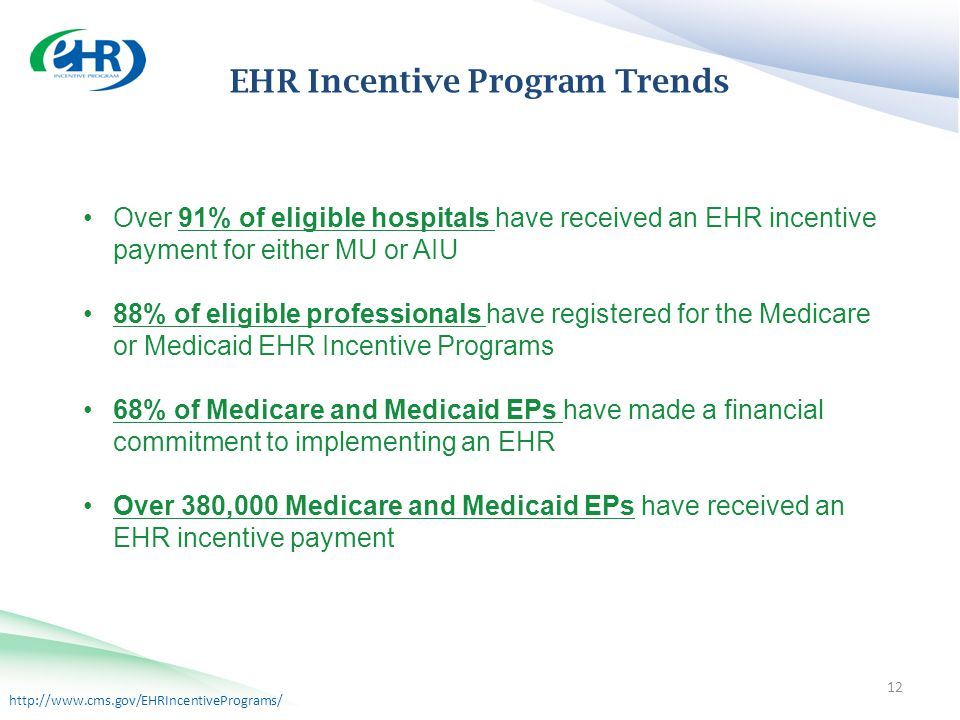 http://www.cms.gov/EHRIncentivePrograms/ Incentive Program Trends EHR Incentive Program Trends Over 91% of eligible hospitals have received an EHR incentive payment for either MU or AIU 88% of eligible professionals have registered for the Medicare or Medicaid EHR Incentive Programs 68% of Medicare and Medicaid EPs have made a financial commitment to implementing an EHR Over 380,000 Medicare and Medicaid EPs have received an EHR incentive payment 12