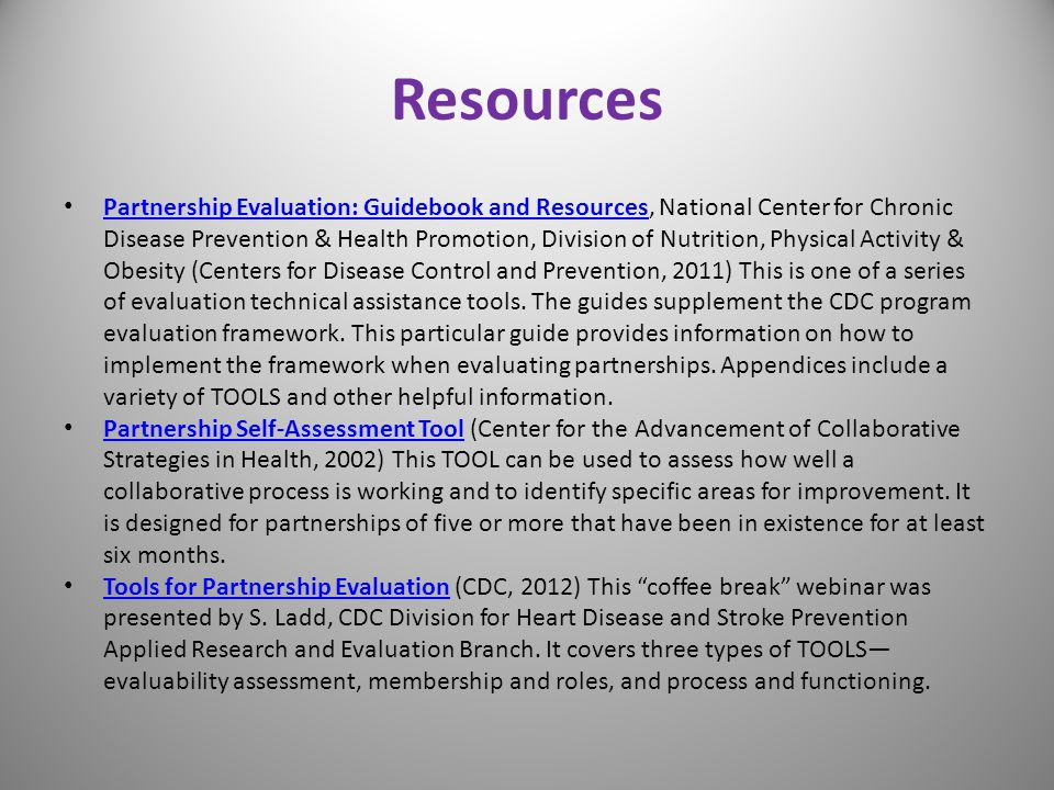 Resources Partnership Evaluation: Guidebook and Resources, National Center for Chronic Disease Prevention & Health Promotion, Division of Nutrition, P