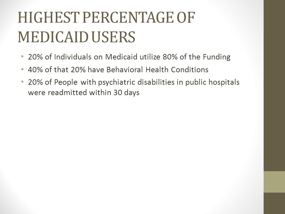 HIGHEST PERCENTAGE OF MEDICAID USERS 20% of Individuals on Medicaid utilize 80% of the Funding 40% of that 20% have Behavioral Health Conditions 20% of People with psychiatric disabilities in public hospitals were readmitted within 30 days