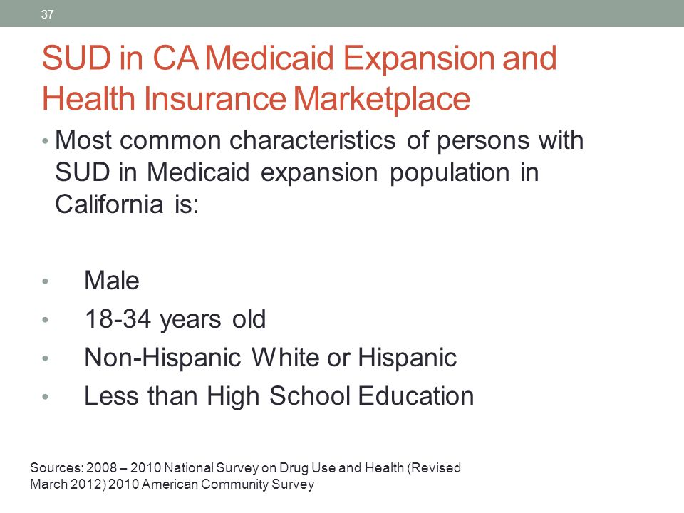 SUD in CA Medicaid Expansion and Health Insurance Marketplace Most common characteristics of persons with SUD in Medicaid expansion population in Cali