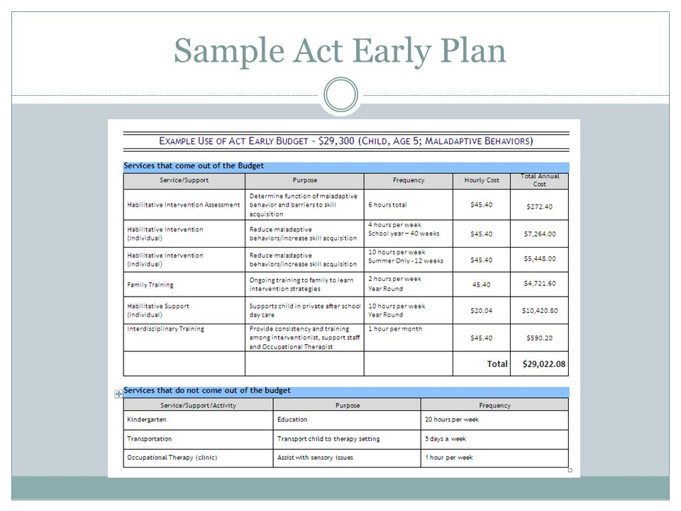 Sample Act Early Plan