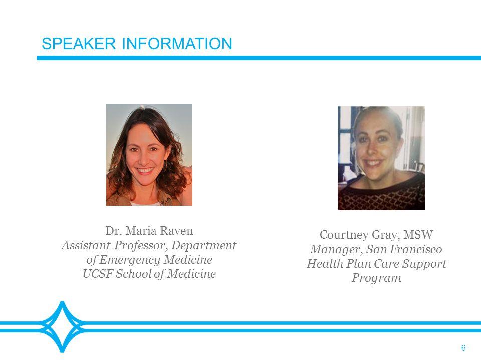 6 SPEAKER INFORMATION Dr.