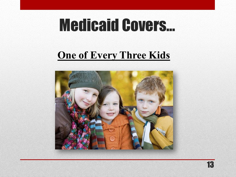 Medicaid Covers… One of Every Three Kids 13
