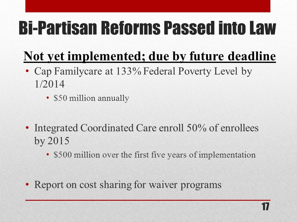 Bi-Partisan Reforms Passed into Law Cap Familycare at 133% Federal Poverty Level by 1/2014 $50 million annually Integrated Coordinated Care enroll 50% of enrollees by 2015 $500 million over the first five years of implementation Report on cost sharing for waiver programs Not yet implemented; due by future deadline 17