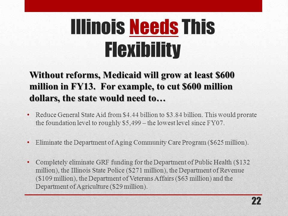 Illinois Needs This Flexibility Reduce General State Aid from $4.44 billion to $3.84 billion.