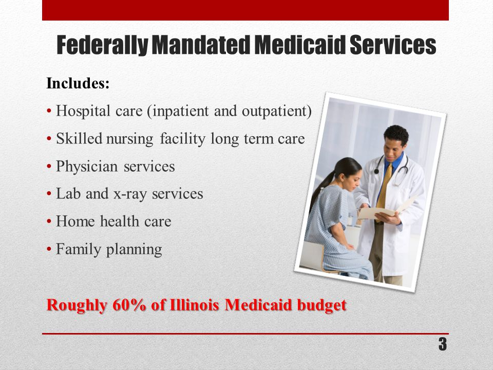 Federally Mandated Medicaid Services Hospital care (inpatient and outpatient) Skilled nursing facility long term care Physician services Lab and x-ray services Home health care Family planning Roughly 60% of Illinois Medicaid budget 3 Includes: