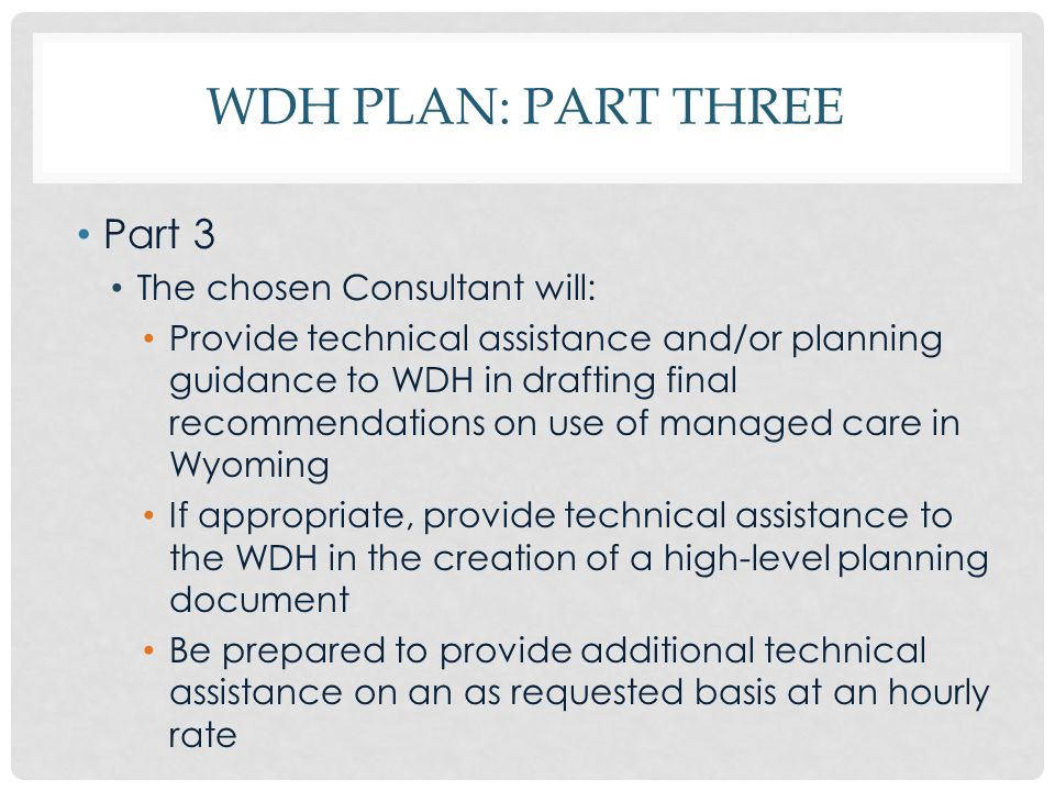 WDH PLAN: PART THREE Part 3 The chosen Consultant will: Provide technical assistance and/or planning guidance to WDH in drafting final recommendations