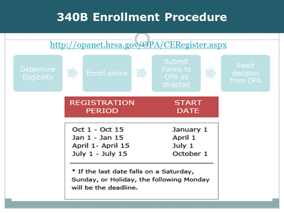 340B Enrollment Procedure http://opanet.hrsa.gov/OPA/CERegister.aspx