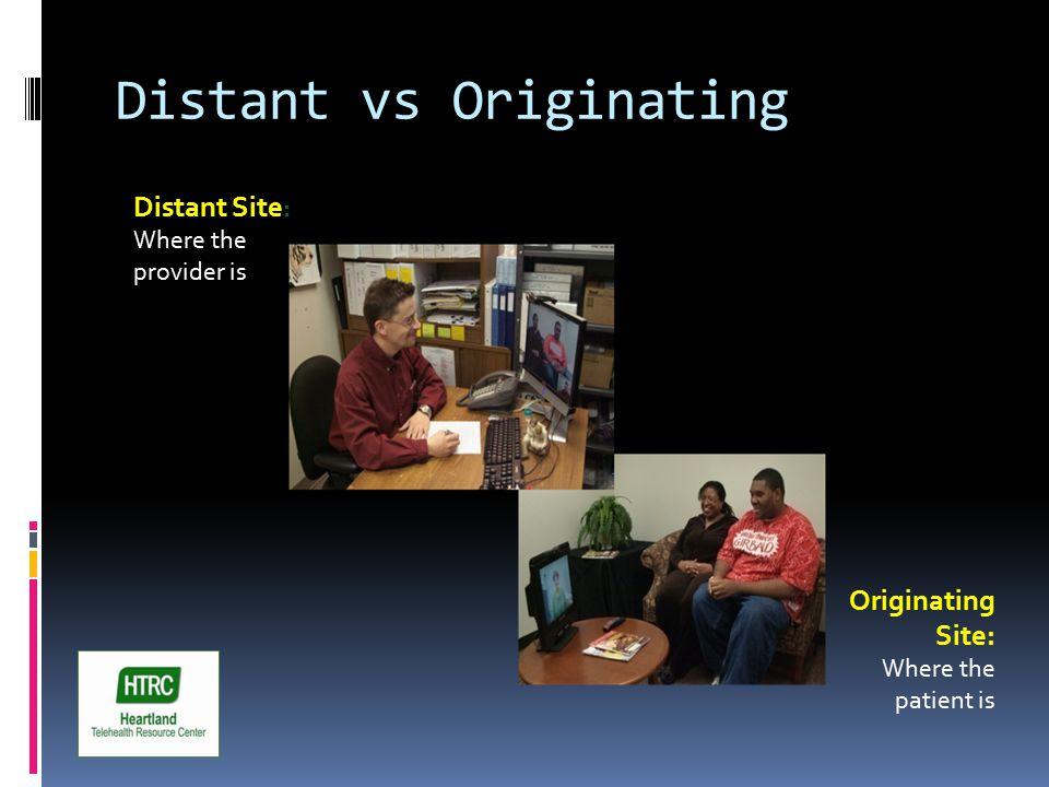 Distant vs Originating Distant Site : Where the provider is Originating Site: Where the patient is
