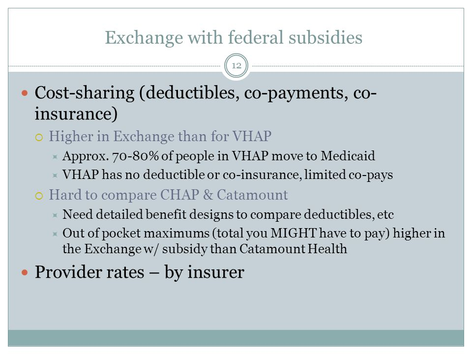 Exchange with federal subsidies 12 Cost-sharing (deductibles, co-payments, co- insurance)  Higher in Exchange than for VHAP  Approx. 70-80% of peopl