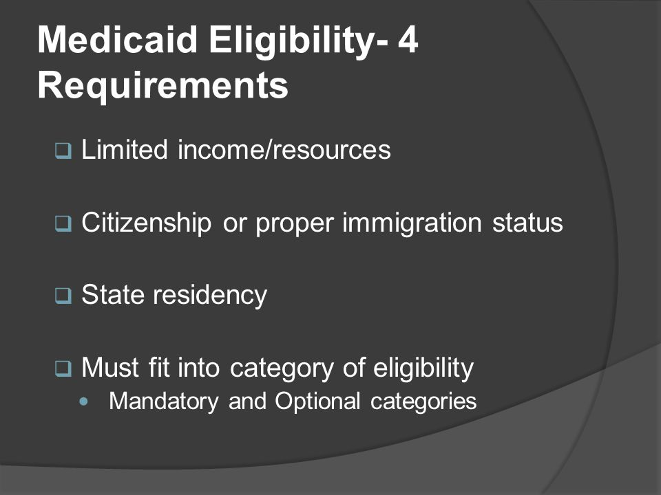 Medicaid Eligibility- 4 Requirements  Limited income/resources  Citizenship or proper immigration status  State residency  Must fit into category of eligibility Mandatory and Optional categories