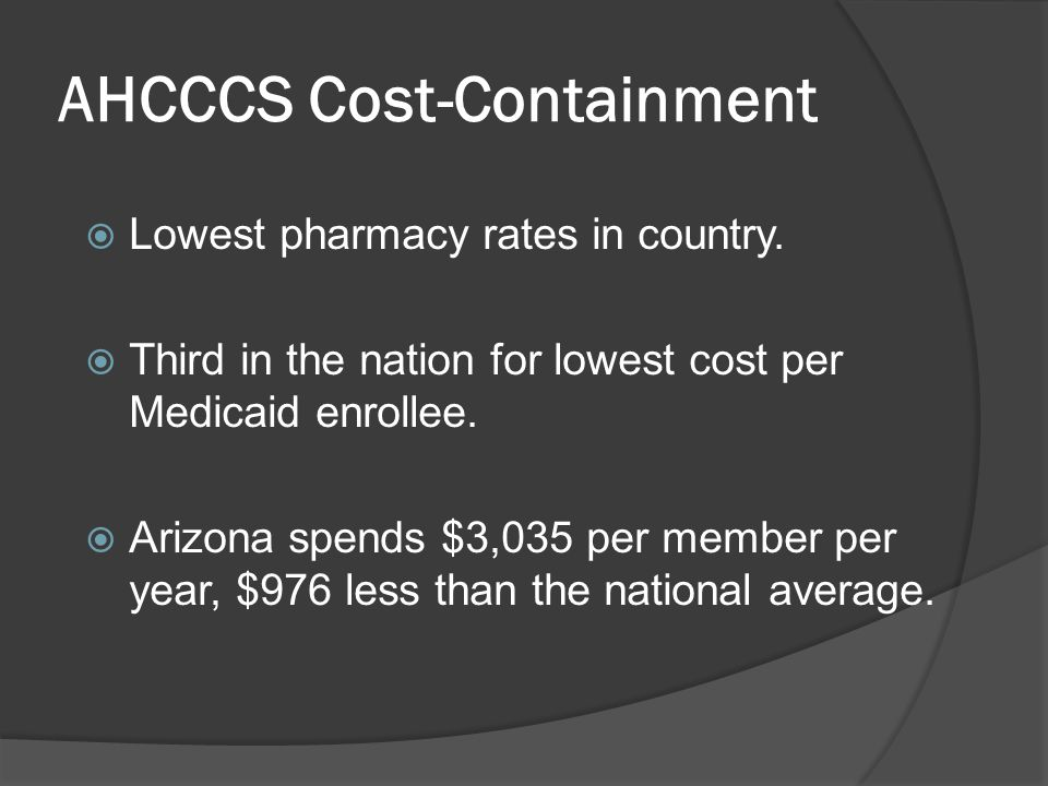 AHCCCS Cost-Containment  Lowest pharmacy rates in country.