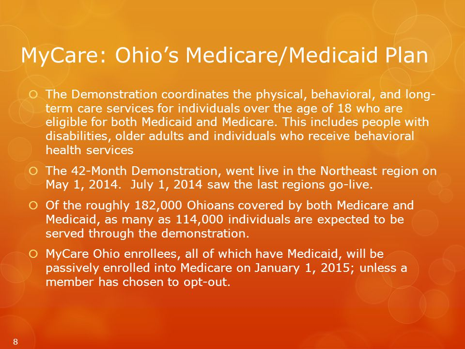 MyCare: Ohio's Medicare/Medicaid Plan  The Demonstration coordinates the physical, behavioral, and long- term care services for individuals over the age of 18 who are eligible for both Medicaid and Medicare.