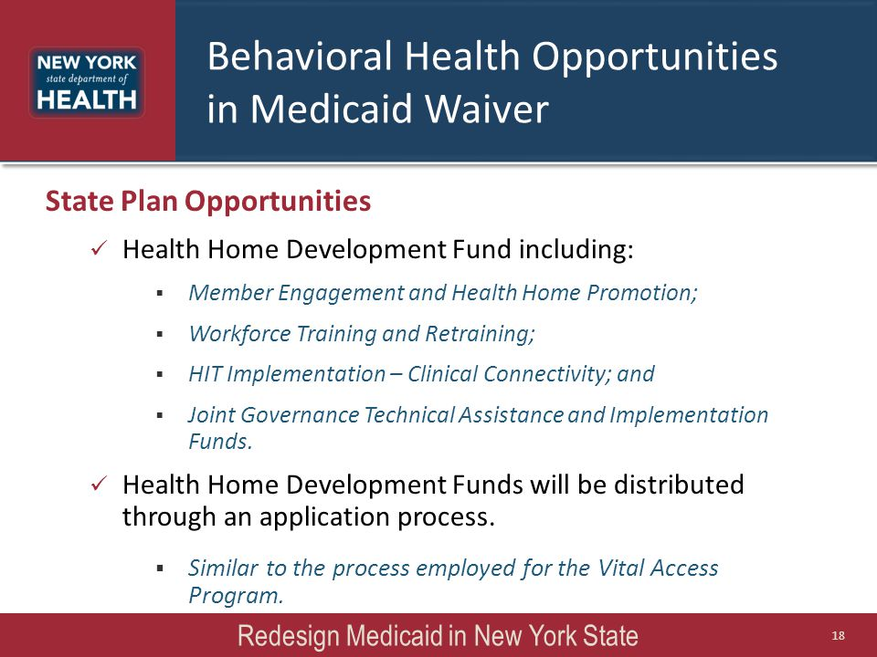 State Plan Opportunities Health Home Development Fund including:  Member Engagement and Health Home Promotion;  Workforce Training and Retraining; 