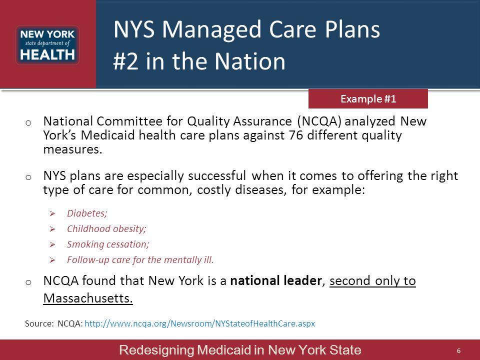 NYS Managed Care Plans #2 in the Nation o National Committee for Quality Assurance (NCQA) analyzed New York's Medicaid health care plans against 76 different quality measures.