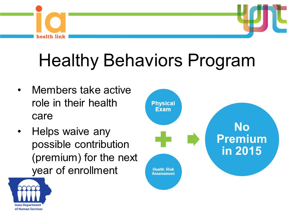 Healthy Behaviors Program Members take active role in their health care Helps waive any possible contribution (premium) for the next year of enrollment Physical Exam Health Risk Assessment No Premium in 2015