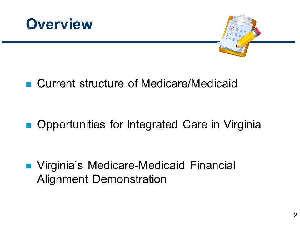 Overview n Current structure of Medicare/Medicaid n Opportunities for Integrated Care in Virginia n Virginia's Medicare-Medicaid Financial Alignment D