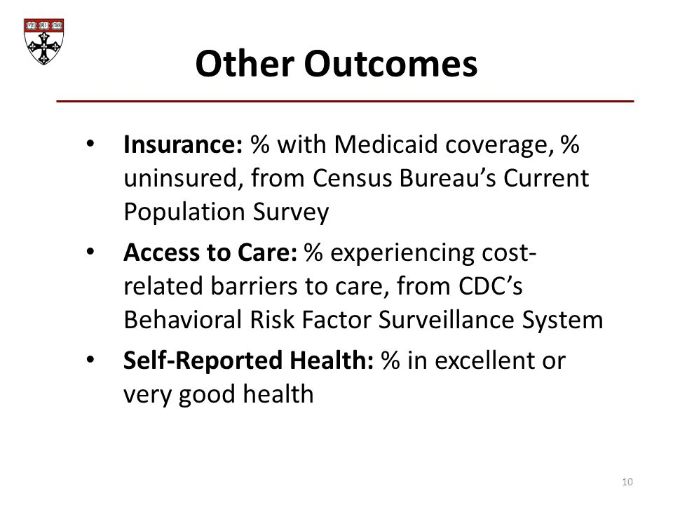 Other Outcomes Insurance: % with Medicaid coverage, % uninsured, from Census Bureau's Current Population Survey Access to Care: % experiencing cost- r