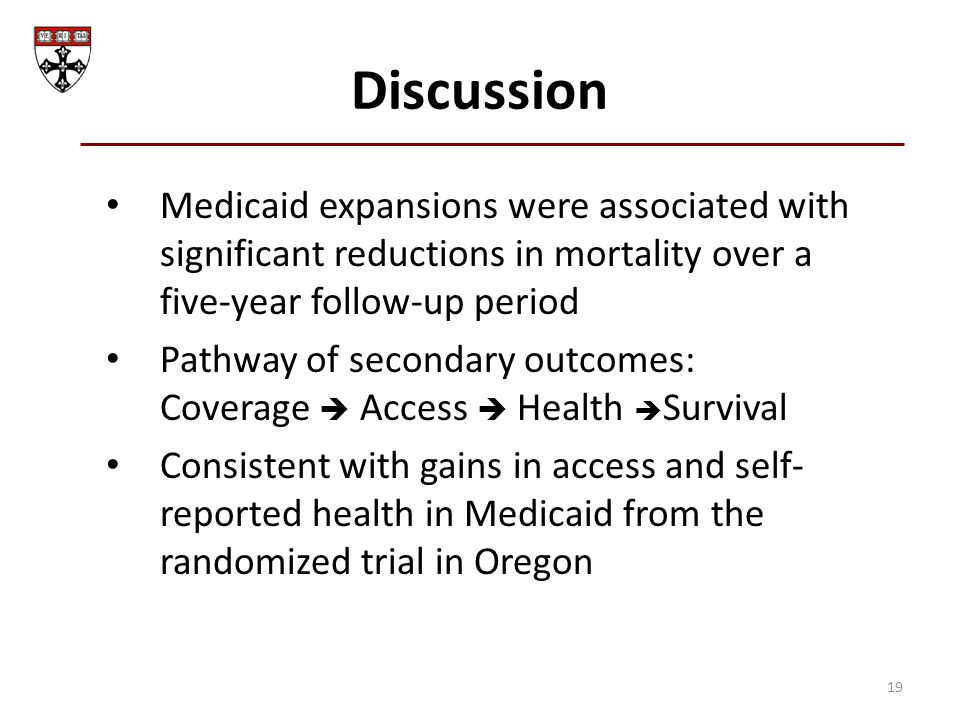 Discussion Medicaid expansions were associated with significant reductions in mortality over a five-year follow-up period Pathway of secondary outcomes: Coverage  Access  Health  Survival Consistent with gains in access and self- reported health in Medicaid from the randomized trial in Oregon 19