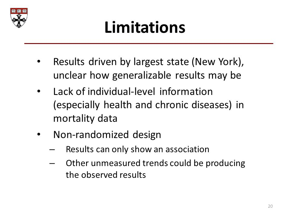 Limitations Results driven by largest state (New York), unclear how generalizable results may be Lack of individual-level information (especially heal