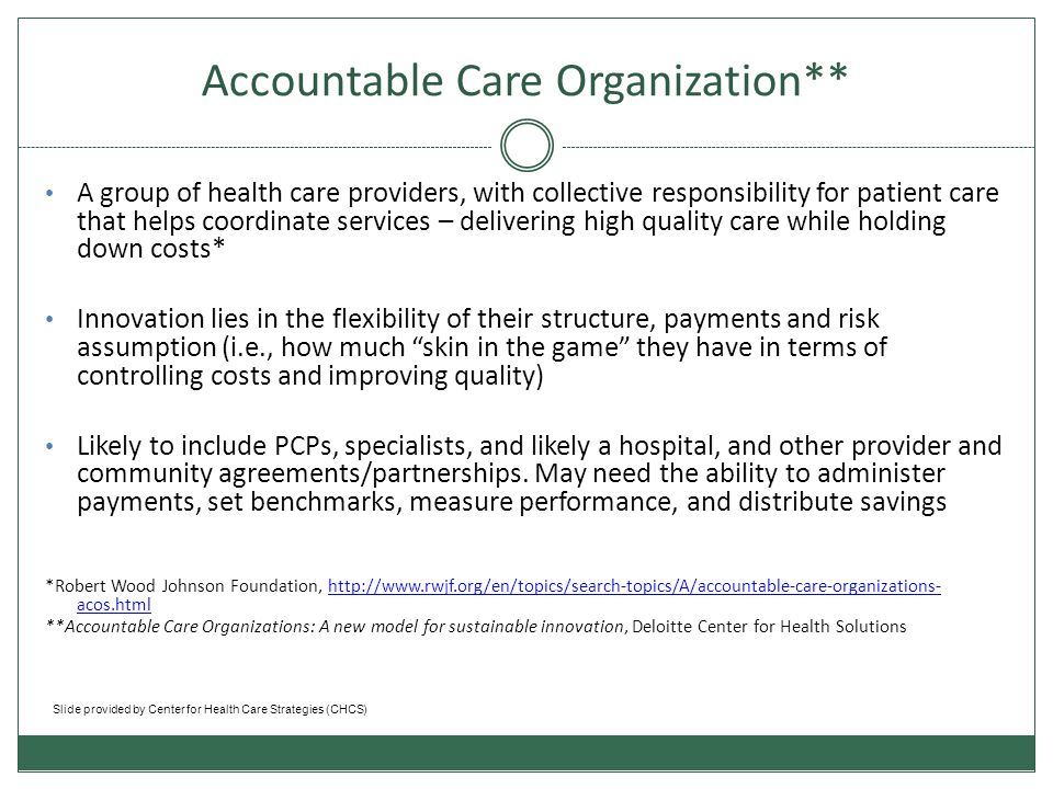 Key Issues for ACOs 1.