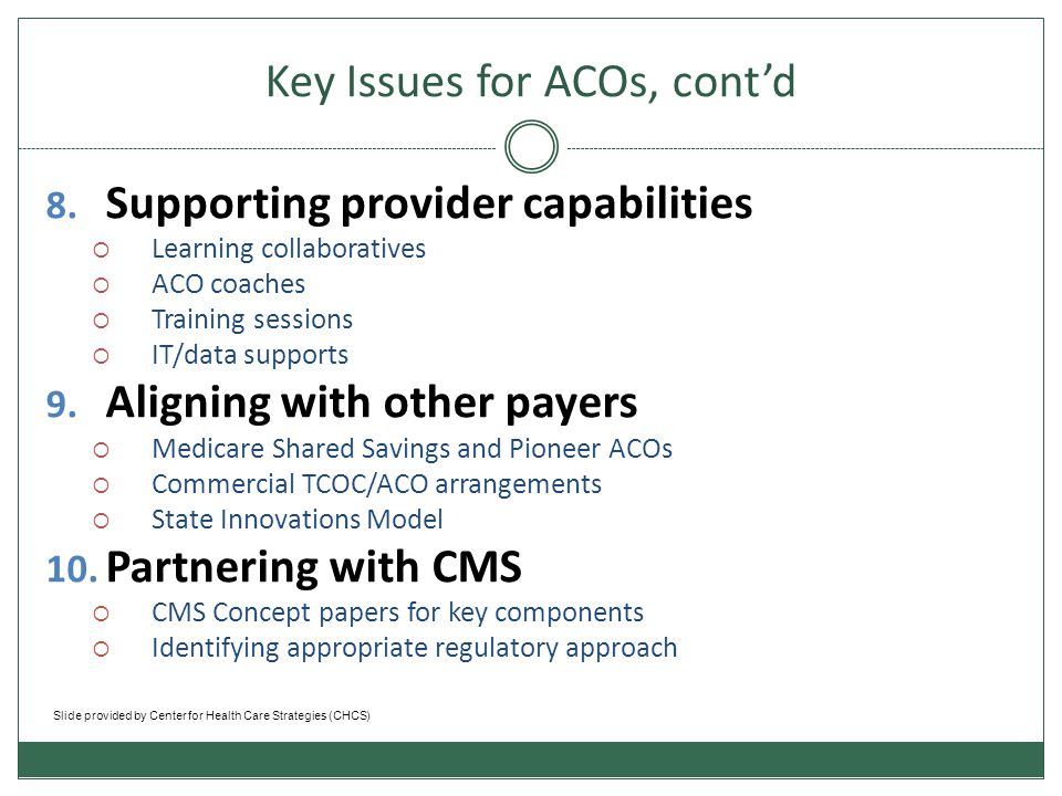 National ACO models Medicare Shared Savings Program (CMS)  Eligible providers, hospitals, and suppliers participate in ACOs to improve the quality of care for Medicare Fee-For-Service (FFS) beneficiaries and reduce unnecessary costs.