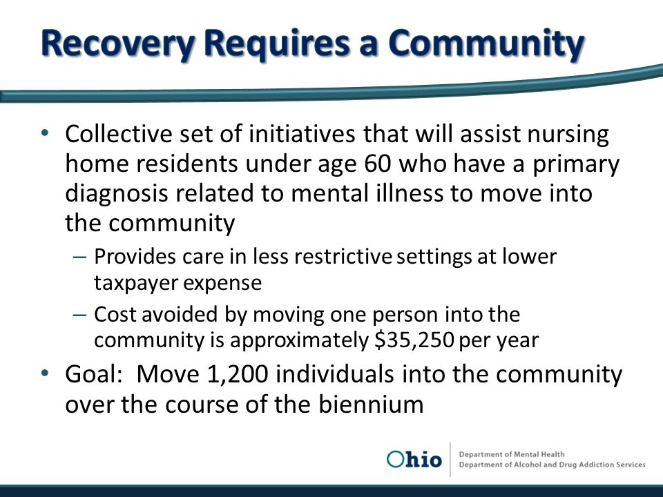 Collective set of initiatives that will assist nursing home residents under age 60 who have a primary diagnosis related to mental illness to move into the community – Provides care in less restrictive settings at lower taxpayer expense – Cost avoided by moving one person into the community is approximately $35,250 per year Goal: Move 1,200 individuals into the community over the course of the biennium