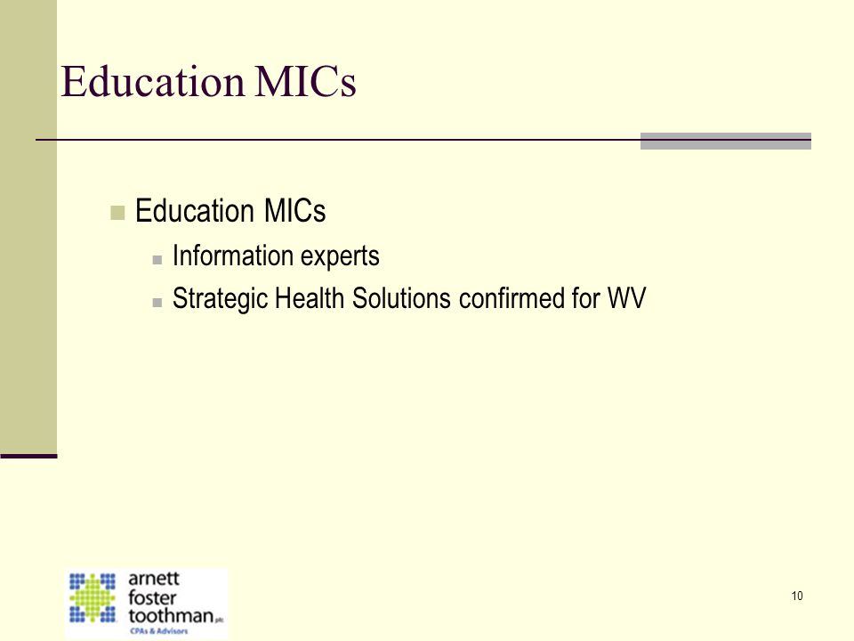 10 Education MICs Information experts Strategic Health Solutions confirmed for WV