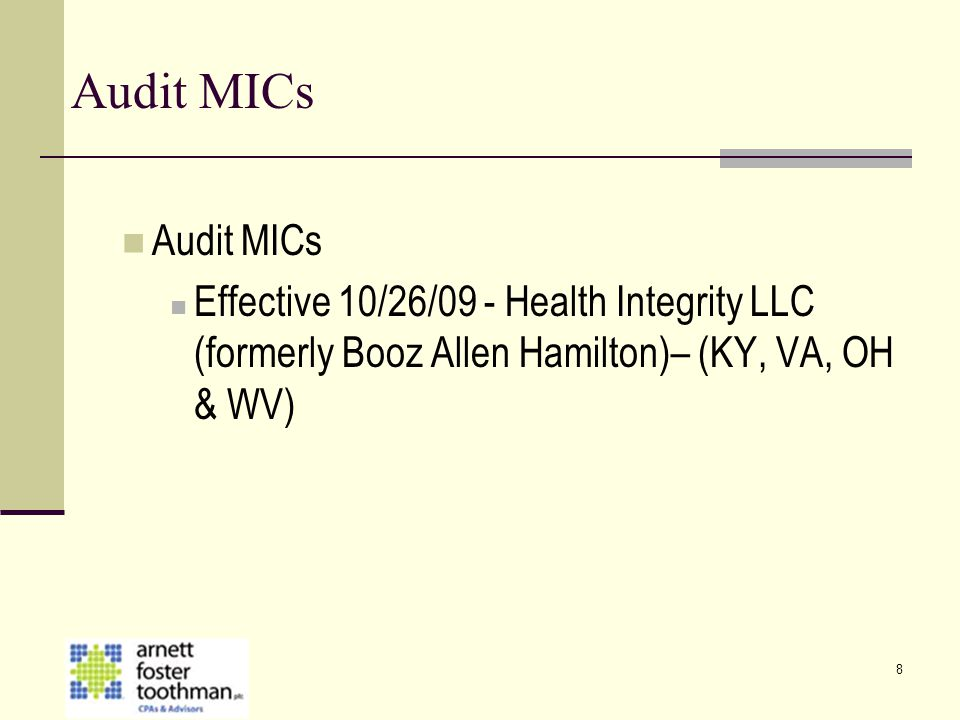 8 Audit MICs Effective 10/26/09 - Health Integrity LLC (formerly Booz Allen Hamilton)– (KY, VA, OH & WV)