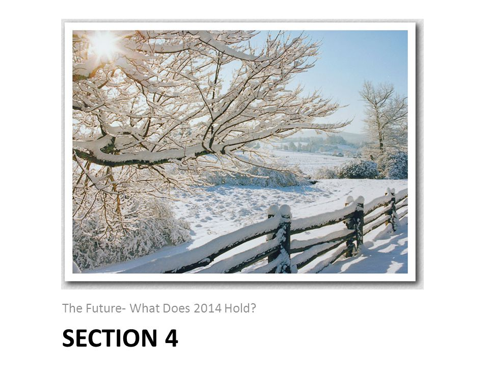 SECTION 4 The Future- What Does 2014 Hold?