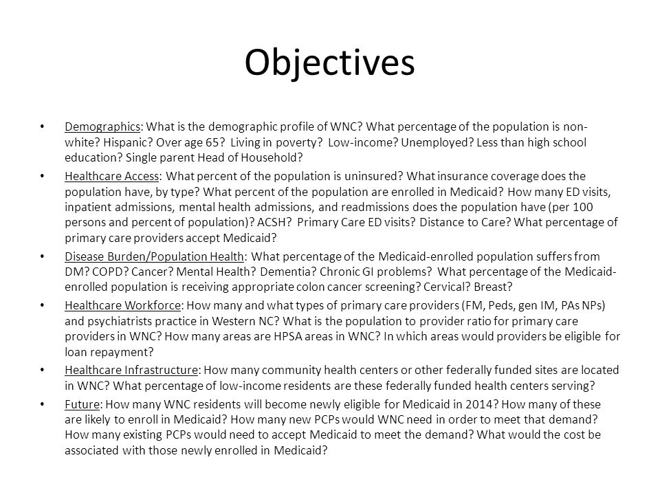 Objectives Demographics: What is the demographic profile of WNC.