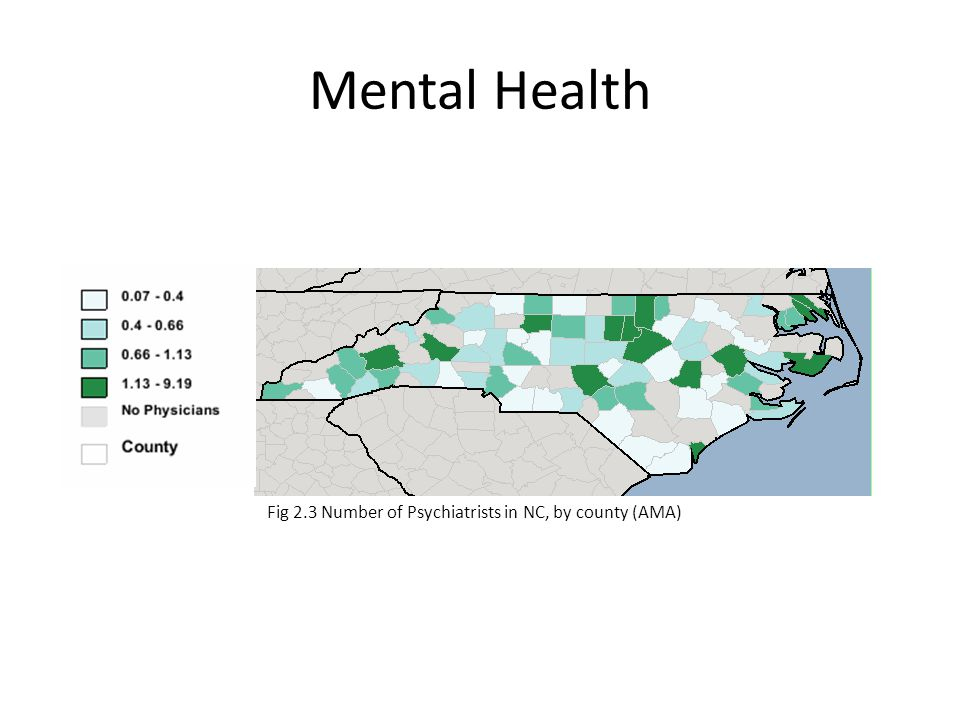 Mental Health Fig 2.3 Number of Psychiatrists in NC, by county (AMA)
