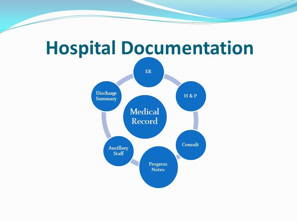 Hospital Documentation Medical Record ERH & PConsult Progress Notes Ancillary Staff Discharge Summary