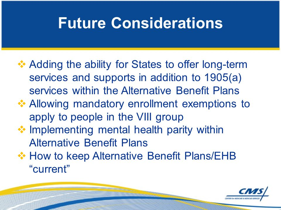 Future Considerations  Adding the ability for States to offer long-term services and supports in addition to 1905(a) services within the Alternative