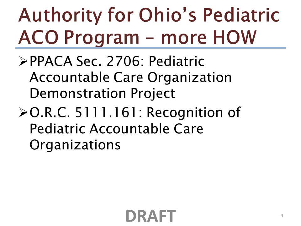 Authority for Ohio's Pediatric ACO Program – more HOW  PPACA Sec.