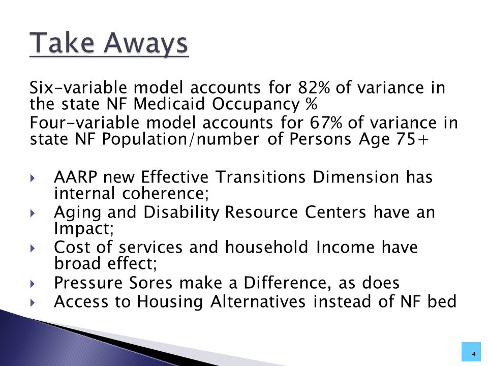 Six-variable model accounts for 82% of variance in the state NF Medicaid Occupancy % Four-variable model accounts for 67% of variance in state NF Population/number of Persons Age 75+  AARP new Effective Transitions Dimension has internal coherence;  Aging and Disability Resource Centers have an Impact;  Cost of services and household Income have broad effect;  Pressure Sores make a Difference, as does  Access to Housing Alternatives instead of NF bed 4