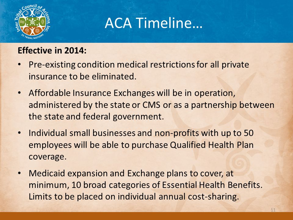 ACA Timeline… Effective in 2014: Pre-existing condition medical restrictions for all private insurance to be eliminated.