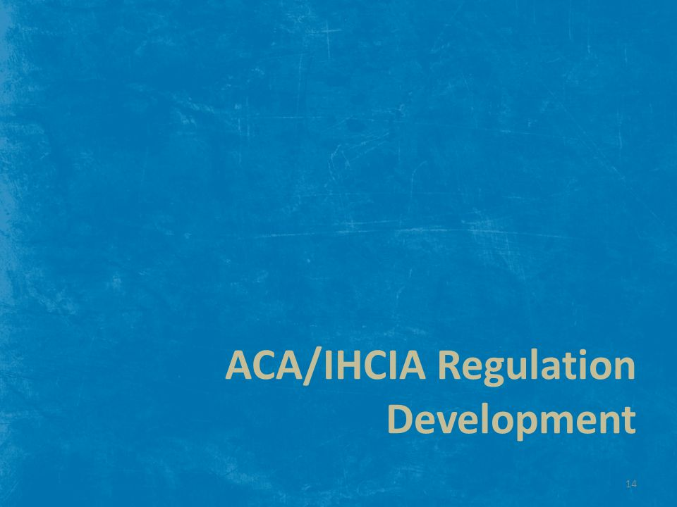 ACA/IHCIA Regulation Development 14