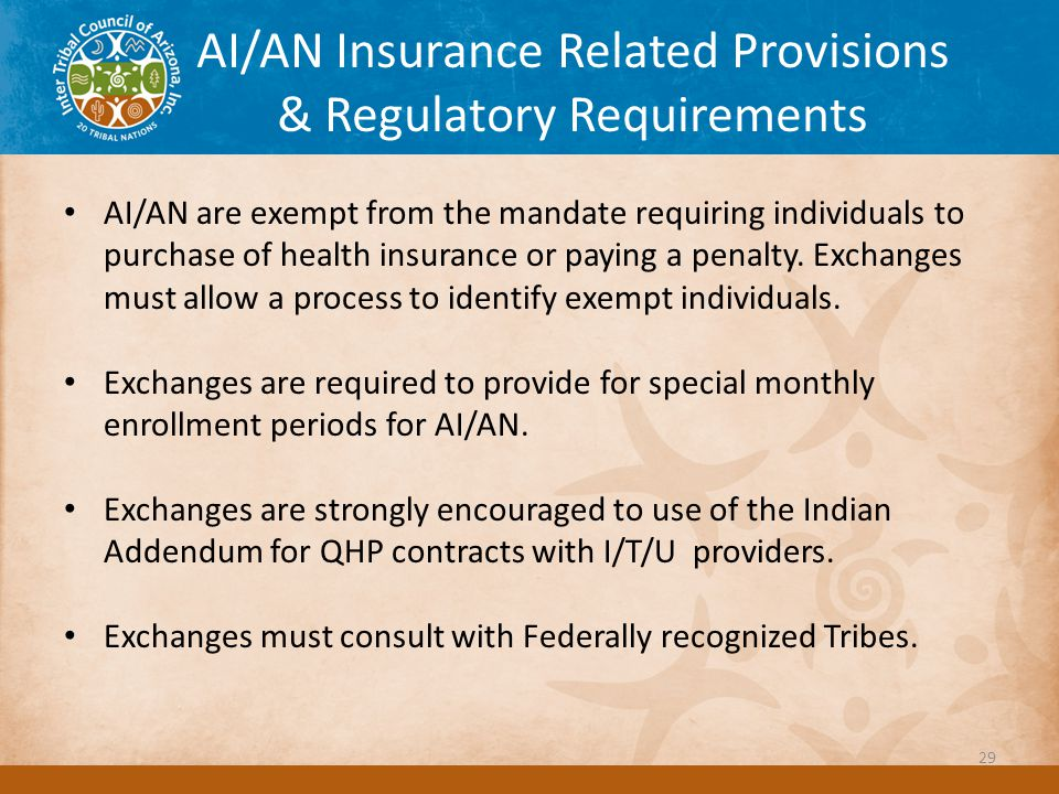 AI/AN Insurance Related Provisions & Regulatory Requirements AI/AN are exempt from the mandate requiring individuals to purchase of health insurance or paying a penalty.
