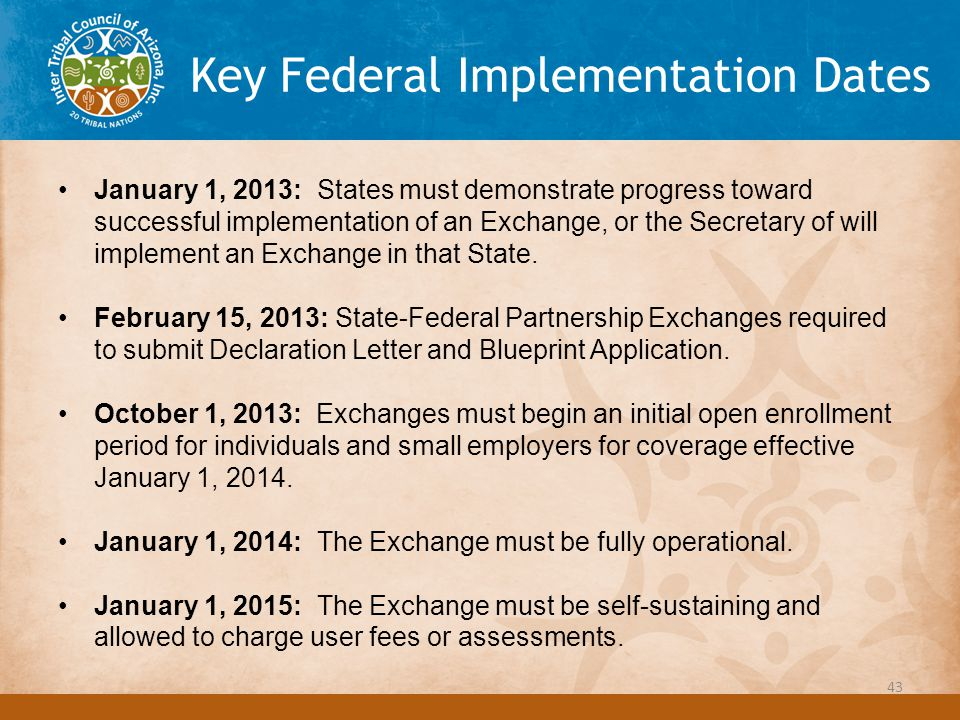 Key Federal Implementation Dates January 1, 2013: States must demonstrate progress toward successful implementation of an Exchange, or the Secretary of will implement an Exchange in that State.