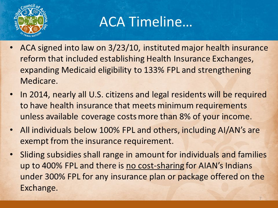 ACA Timeline… ACA signed into law on 3/23/10, instituted major health insurance reform that included establishing Health Insurance Exchanges, expanding Medicaid eligibility to 133% FPL and strengthening Medicare.
