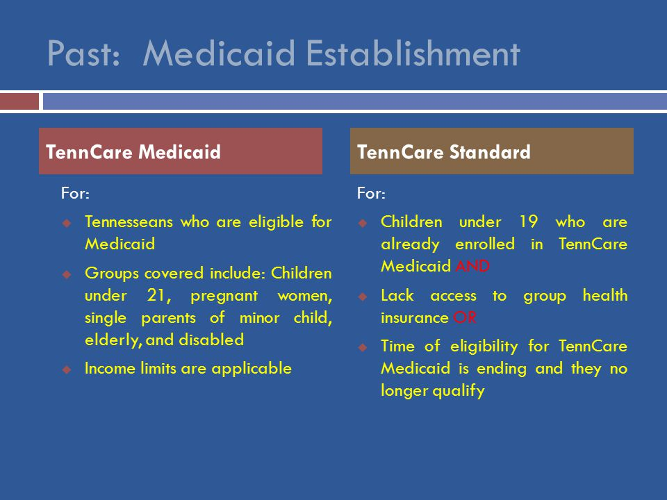 Past: Medicaid Establishment For:  Tennesseans who are eligible for Medicaid  Groups covered include: Children under 21, pregnant women, single parents of minor child, elderly, and disabled  Income limits are applicable For:  Children under 19 who are already enrolled in TennCare Medicaid AND  Lack access to group health insurance OR  Time of eligibility for TennCare Medicaid is ending and they no longer qualify TennCare MedicaidTennCare Standard