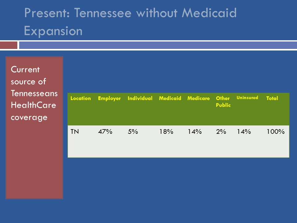 Current source of Tennesseans HealthCare coverage LocationEmployerIndividualMedicaidMedicareOther Public Uninsured Total TN47%5%18%14%2%14%100%