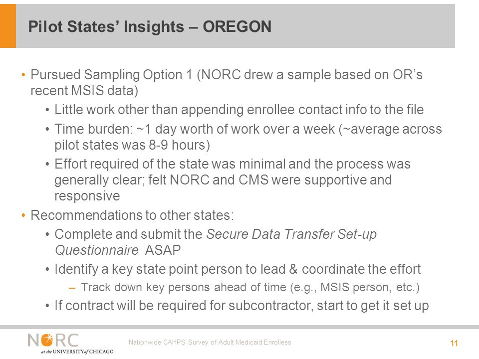 Pursued Sampling Option 1 (NORC drew a sample based on OR's recent MSIS data) Little work other than appending enrollee contact info to the file Time burden: ~1 day worth of work over a week (~average across pilot states was 8-9 hours) Effort required of the state was minimal and the process was generally clear; felt NORC and CMS were supportive and responsive Recommendations to other states: Complete and submit the Secure Data Transfer Set-up Questionnaire ASAP Identify a key state point person to lead & coordinate the effort –Track down key persons ahead of time (e.g., MSIS person, etc.) If contract will be required for subcontractor, start to get it set up Nationwide CAHPS Survey of Adult Medicaid Enrollees 11 Pilot States' Insights – OREGON