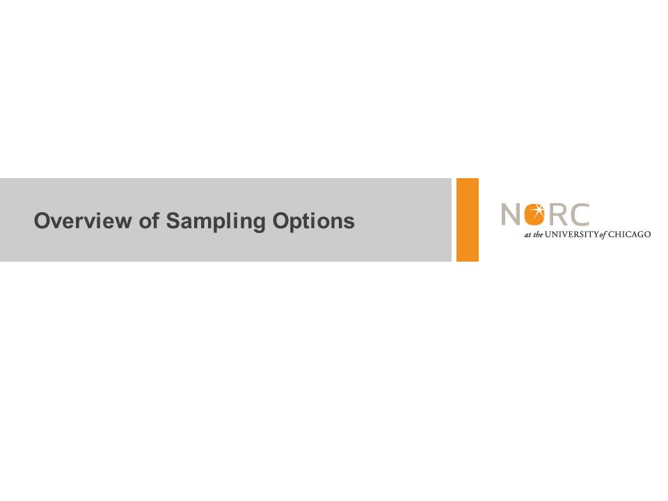 Overview of Sampling Options