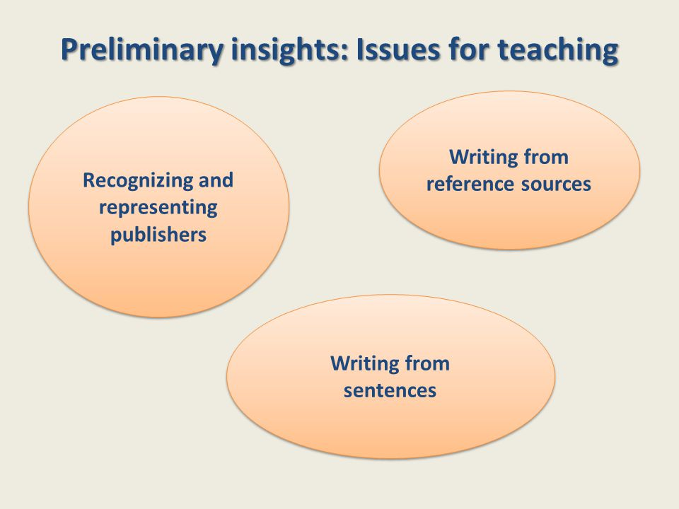 Preliminary insights: Issues for teaching Writing from sentences Writing from reference sources Recognizing and representing publishers