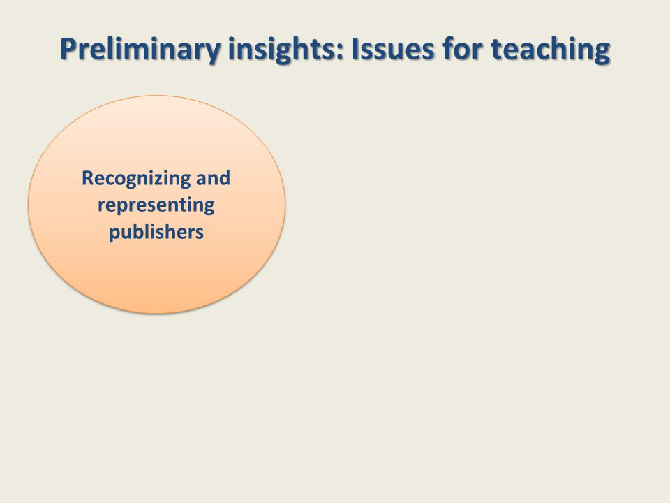 Preliminary insights: Issues for teaching Recognizing and representing publishers
