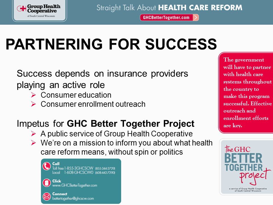 The government will have to partner with health care systems throughout the country to make this program successful.