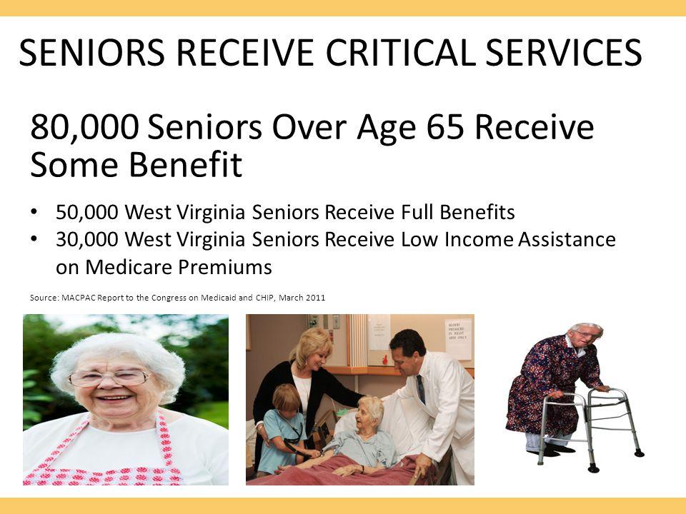 SENIORS RECEIVE CRITICAL SERVICES 80,000 Seniors Over Age 65 Receive Some Benefit 50,000 West Virginia Seniors Receive Full Benefits 30,000 West Virgi