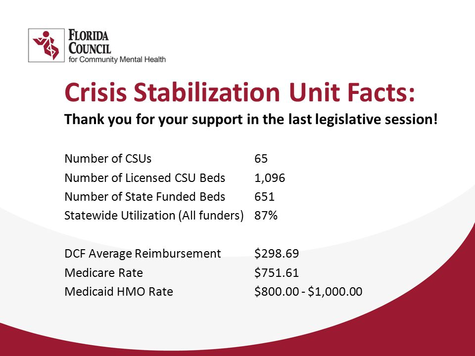 Crisis Stabilization Unit Facts: Thank you for your support in the last legislative session.